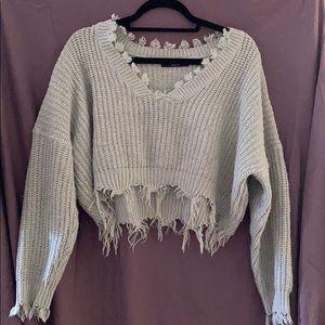 Zaful Cropped Grey Sweater